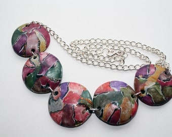 Polymer clay watercolor technique necklace