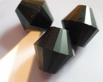 Vintage Glass Beads (8) (13mm) German Matt Black Bicone Focal Beads