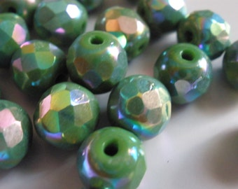 Vintage Glass Beads (10) Forest Green Faceted AB German Beads