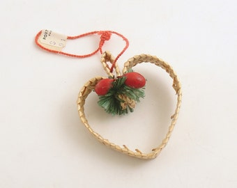 Vintage Christmas Ornament Straw Heart Scandinavian Denmark