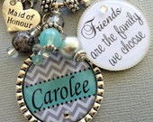 Bridesmaid gift Personalized CHEVRON keychain, best friend, maid of honor gift, sister gift, inspirational, friends are family we choose