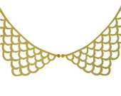 Peter Pan Scalloped Collar Gold Necklace // Col Claudine Lace Bib Gold Pendant on Chain Necklace