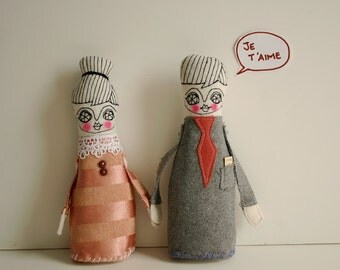 Valentines - Je t aime - photo print - dolls in love - letter size