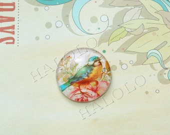 4pcs handmade bird round clear glass dome cabochons 25mm (250642)
