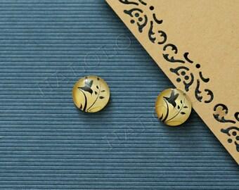 Sale - 10er handmade hummingbird on yellow Cabochons 12mm (12-0751)