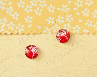 Sale - 10 pcs handmade white on red parsley  glass cabochons 12mm (12-0811)
