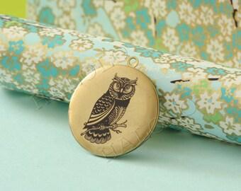 1pc owl  round antique brass locket 32mm (LD042)