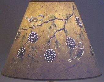 Pine cone & Chickadee Lamp Shade - Lamp Shade - Paper Lampshade - Birds - Chickadees - Pierced Lampshade - Woodland - Pine Trees - Nature