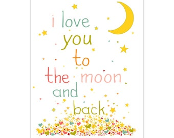 I Love You To The Moon and Back Pink Typography Nurrsery Wall Art Print
