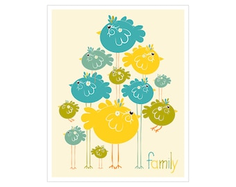 Children's Wall Art / Nursery Decor Family 8x10 inch print by Finny and Zook