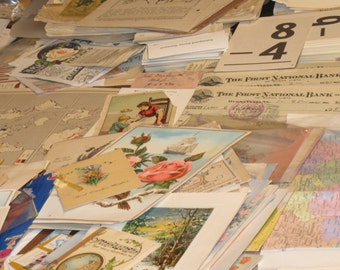 Huge Lot 1890s-1950s 250 Ephemera Victorian to 50s for Collage Decoupage Mixed Media Scrapbooks Art Journals