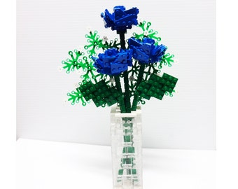 Custom Bouquet of Blue Roses and Baby's Breath