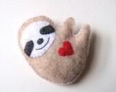 Sloth Felt Brooch Cute Funny Sloth Felt Pin Red Heart Love Soft Grey Unique Handmade Felt Accessory Softie Stuffed Animal Plush Sloth MiKa
