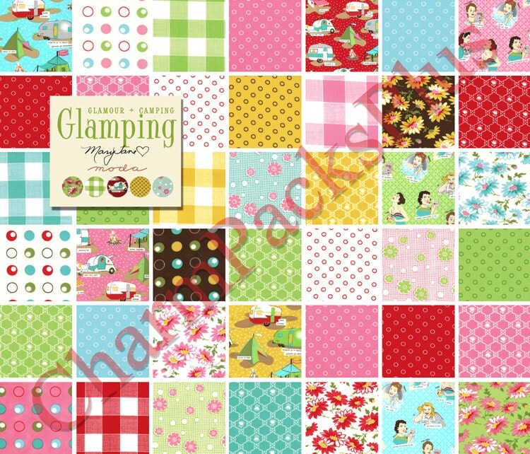 Free Quilt Patterns Moda Fabrics : GLAMPING Moda Fabric Charm Pack Five Inch Quilt Squares