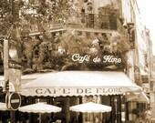 Paris cafe photo,  Paris photography, black and white Paris, sepia tone photo, romantic photo, Montmartre, 8x10 wall art, feminine gift,