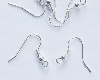 Silver Plated Ear Wires Hooks Lead and Nickel Free (50) fnd010Q