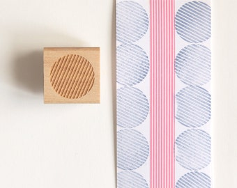 Striped Circle Rubber Stamp (Wood Mounted) 1 inch Abstract Geometric Shape, Petites Collection (SP603) Perfect for DIY Stationery, Gift Wrap