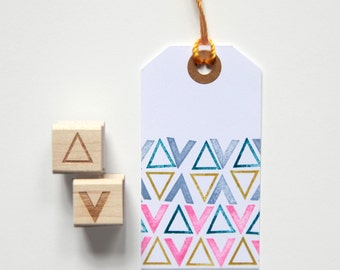 "Mini Triangle and Arrow Rubber Stamps (Wood Mounted) Abstract Geometric Design Set of 2, Mini Duos 1/2"" size (M3A-3B) Cute Gift Idea"
