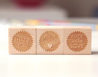 """Choose 3 Mini Rubber Stamps 1"""" size (Wood Mounted) Thank You, Made with Love, Handmade, Monogram or Geometric Shapes Petites Collection"""