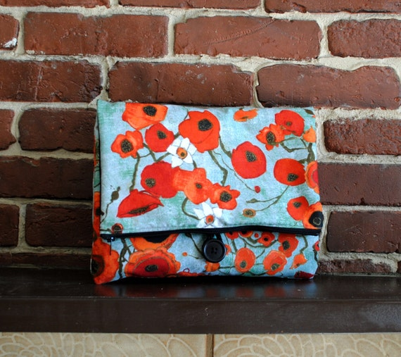 iPad Case - Large Poppies in Teal