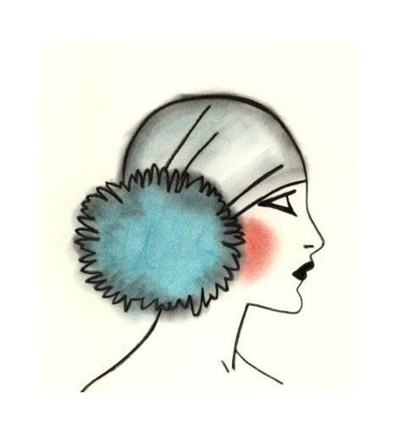 art deco flapper girl blue pom pom 4 x 6 print 4 for 3. Black Bedroom Furniture Sets. Home Design Ideas