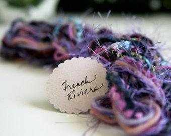 Fibers Lot - Craft Supplies - Dreamcatcher - Purple - French Riviera - Scrapbooking -  Knitting - Crochet - Altered Art - Yarn Lot