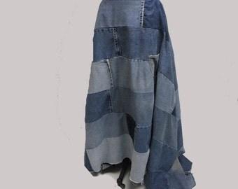 CUSTOM Patchwork Denim Drama Skirt YOUR SIZE