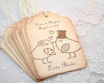 Wedding Favor Tags Personalized Wedding Tags Love Birds Name and Date