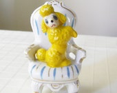 Vintage Figurine Poodle In Chair Ornament - Kitch