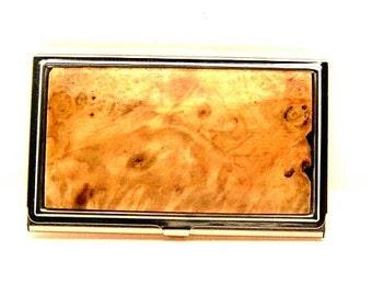 Handmade Wood Business Card Case Card Holder Box Elder Burl Wood