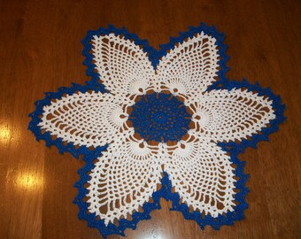 Blue and White Pineapple Doily