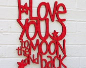 Moon And Back Sign, I Love You Wood Sign, Nursery Wood Sign, Wood Quote Sign, Famous Quote Sign, Wood Meme Sign, Funky Wood Sign