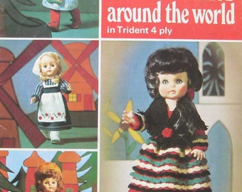 Patons Knit Dolls Clothes Around the World Pattern Book