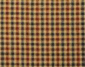 Homespun Fabric | Small Check Fabric | Cotton Fabric | Americana Fabric | Red, Navy And Tan 1 Yard  DESTASH