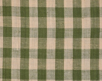 FLAWED Cotton Homespun Fabric Green And Tea Dye Large Check 44 x 44
