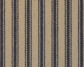 FLAWED Vintage Inspired Ticking Material Blue Stripe 28 x 44