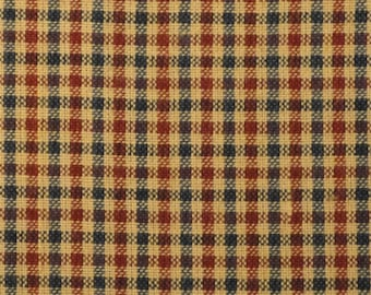 Homespun Fabric | Small Check Fabric | Cotton Fabric | Americana Fabric | Red, Navy And Tan 1 Yard  DESTASH