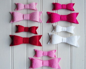 Wool Felt Bows - Valentine Collection Preppy Bows - Set 10
