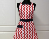 Chevron Full Apron - Womens Modern Retro Kitchen Aprons, Red White and Navy Blue