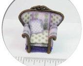 "Dollhouse Miniature Quarter Scale Kit Purple Iris Chair Kit 1/4"" 1:48"