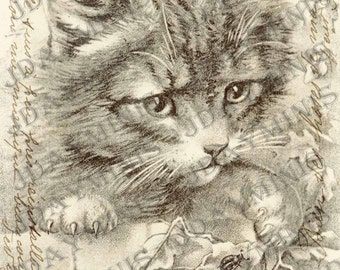 The Kitten and the Lady Bug, Victorian Gift Tag, Instant Download, French Postcard Scan from 1905 FrA097