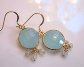 Round aqua blue chalcedony earrings