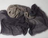 Grey ombre silk  linen woven scarf dyed with natural plant extracts.