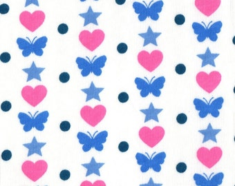 Hearts Butterflies Dots and Stars, Cotton Jersey Knit Fabric, by the yard