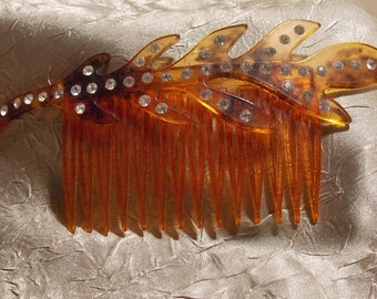 Vintage Rhinestone Tortoise Shell Hair Comb