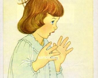 Vintage Peter Pan Illustration Marjorie Torrey Tinkerbell Pulls Wendys Hair for Framing