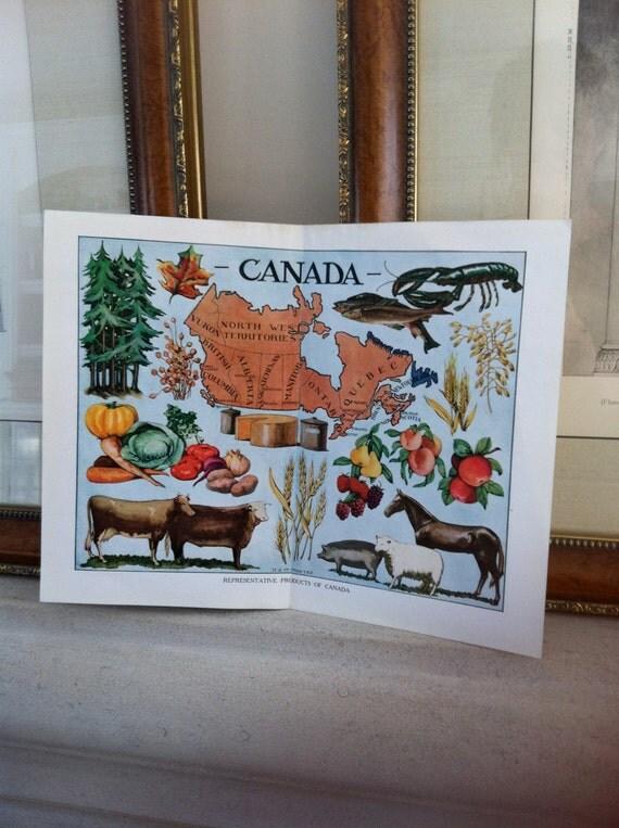vintage print-  Oh, Canada - vintage map - 1912