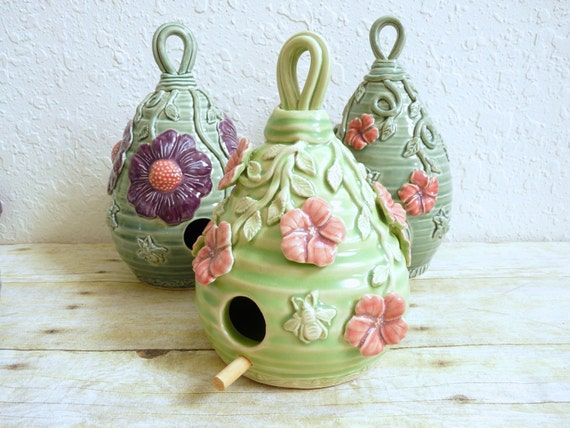 Ceramic Birdhouse with Hibiscus Flowers and Honey Bees Spring Green and Pink Garden Art Gardening Decor
