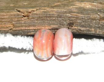 SALE-Hand Made Borosilicate Bead Pair, Pink swirls by Misty Creek Studio Artist Terry Sieber