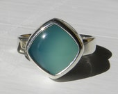 Simple sterling ring with aqua blue chalcedony cabochon